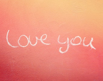 "Graffiti Love Photography - Handwritten Chalk on Pink Coral Concrete - Travel Home Decor - Fine Art Photography - ""LIEBE"""