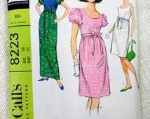 McCall's 8223 Vintage sewing pattern maxi dress scoop neck empire waist balloon puff sleeve dress Bust 36 1960s Audrey Hepburn