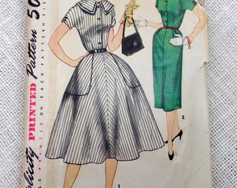 Vintage Pattern Simplicity 1055 1950s Rockabilly picnic dress new look full skirt Bust 34 Puritan collar detachable Wiggle big pockets