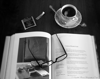FOOD STILL LIFE Photography, Black and White, Food, Tea, Book, Read, Art, Photo, Print, Liz Thomas