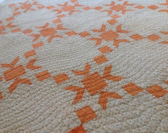 Vintage 30s Morning Star Quilt Top Repurposed into a Youth or Lap Quilt in Apricot Orange  with Flannel Backing