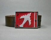 Belt Buckle Jet Airplane Pilot National Guard License Plate Vintage Cool Gift for Men