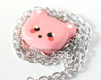Pink Kawaii Bear Necklace, Pastel Face, Teddy Bear Head Harajuku Pendant Jewelry