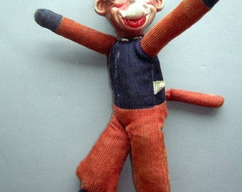 Funky Love Monkey Toy Doll - Vintage 30s Celluloid Head Corduroy Body - JAPAN