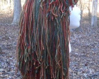 """F004   Yarn Wig    Awesome  """"Autumn Forest"""" Long Shag Yarn Wig  Ready to Ship"""