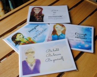 Set of 4 Muse Mantra Postcards - 4 different designs