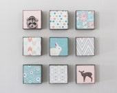 nursery wall art- nine set of 5x5 art blocks- kids room decor- pink wall art for kids -floral art- redtilestudio