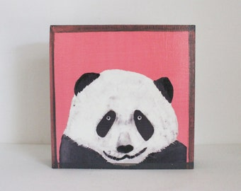 panda wall art- 5x5 art block- hot pink nursery decor- kids room decor- panda nursery- redtilestudio