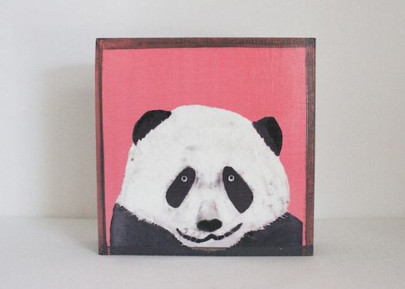 Panda bear nursery art animal print nursery decor boho for Panda bear decor