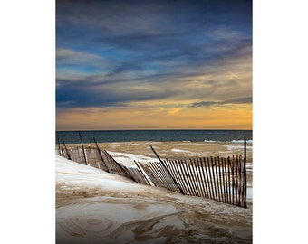 Sunset by the Beach at Grand Haven Michigan with Snow Fence during Winter No.0049 - A Great Lakes Seascape Photograph