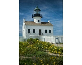 Cabrillo National Monument Lighthouse on Point Loma in San Diego California No.088 A Fine Art Nautical Seascape Photograph