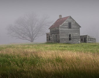 Farm House Abandoned and Forlorn in the Early Morning Fog on the Prairie No.2039 - A Fine Art Rural Country Landscape Photograph
