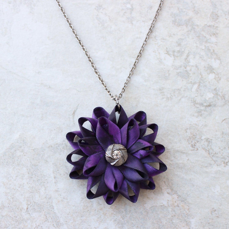 Flower Necklace Purple Necklace Purple Flower Necklace