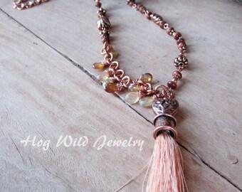 Copper Wire Wrapped Gemstone Tassel Necklace