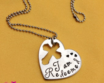I am Redeemed hand stamped heart necklace