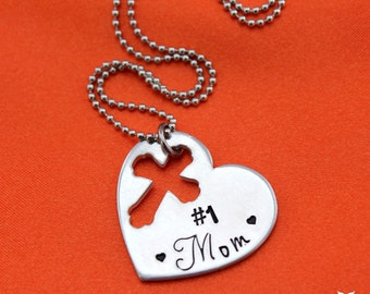 Hand stamped # 1 Mom heart necklace
