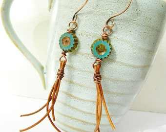 Primitive Teal Flower and Leather Tassel Copper Wire Wrapped Gypsy Earrings