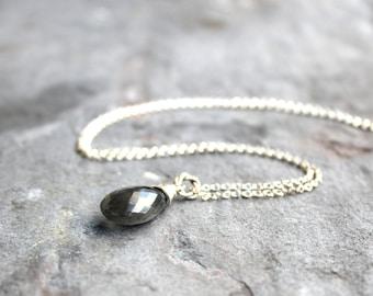Labradorite Necklace Teardrop Sterling Silver Blue Grey Gemstone Necklace Pendant Necklace