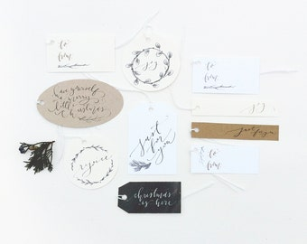 Gift Tags: Nostalgic, Calligraphy Set of 10
