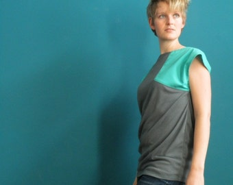 turquoise/ grey colorblock shirt cap sleeve