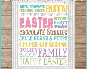 Easter or April Subway Art - Printable INSTANT DOWNLOAD