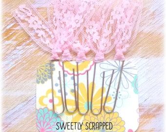PINK LACE Paper Clips .... Planner Goodies / Accent / Embellishment / Filofax / Filo / Scrapbooking / Page Marker / Book / Lacy / Clips /diy