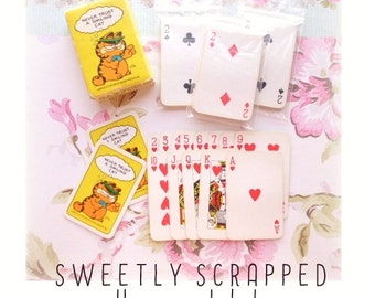 VINTAGE GARFIELD Mini Playing Cards ... Tiny, Scrapbooking, Collage, Supplies, Deck of Cards