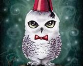"""Fez Owl Art Print -Winter Critter Illustration 8.5"""" x 11"""""""