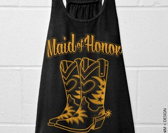 Cowgirl Boots Maid of Honor - Black with Gold Flowy Racerback Tank