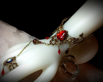 Blood Red Crystal Steampunk Slave Bracelet Ring Antique Gold Bronze Filigree Cuff Titanic Temptations Vintage Victorian Bridal Style Jewelry