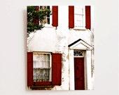 Charleston Photography - Southern Architecture Print - Red and White Decor Brick Garnet Red - Door Windows Photo South Carolina Wall