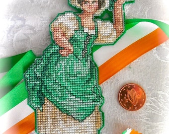 Victorian Irish Shamrock Girl Cross Stitch Ornament