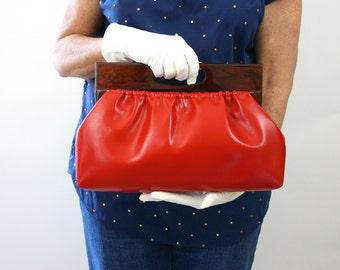 Vintage 70s Handbag Red Faux Leather w Faux Tortoiseshell Plastic Handle