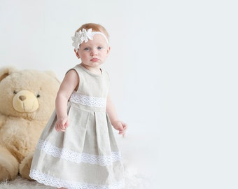 Rustic flower girl dress - Rustic linen girl dress with lace - Infant girl dress - Linen girl dress - Flower girl dress - Gray girl dress