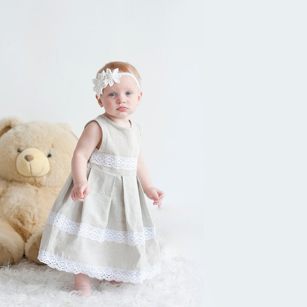 Rustic Flower Girl Dress Rustic Linen Girl Dress With Lace