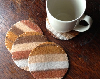 Reclaimed wool felt reversible coaster set