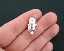 6 Microphone Charms Silver Plated 2 Sided Retro Charms- SC2678