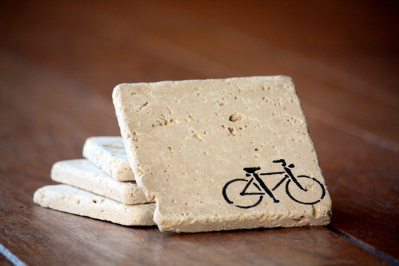 Bicycle Coaster Set Natural Tumbled Marble Rustic Coasters