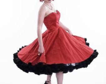 Red Scarlet Raw Silk Strapless Dress