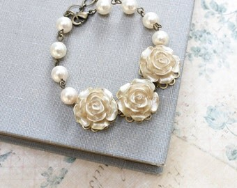 Bridal Bracelet Gold Rose Bracelet Ivory Cream Pearl Bracelet Adjustable Wedding Jewelry Romantic Vintage Style Flower Floral Country Chic