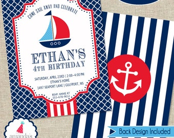 Nautical Party Invitation | Nautical Birthday Invitation | Sailboat Invitation Printable | Boys 1st Birthday | Amanda's Parties To Go