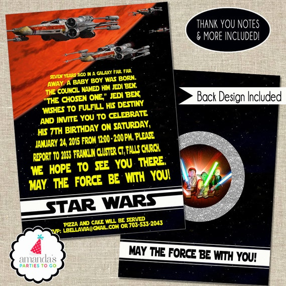 Star Wars Invitation | Star Wars Party Invitation | Star Wars Birthday Invitation | Star Wars Invite | Boys Birthday | Amandas Parties To Go