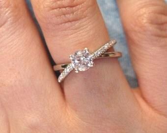 Diamond Infinity Engagement  Ring, Diamond Infinity Engagement Ring, 14k Gold Diamond Braided Engagement Ring, Diamond Infinity Ring