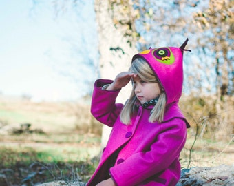 Girl's Owl Coat, Pink Wool Coat, Dress Coat with hood, Handmade Girls Clothing