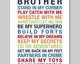 "Big Brother Print Brothers Print Boy Room Decor Boys Rules Boy Room Art Boy Room Print Baby Boy Nursery Art Boy Room Sign - 16""x20"""