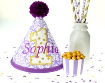 Lavender Damask Fabric Embroidered Birthday Hat