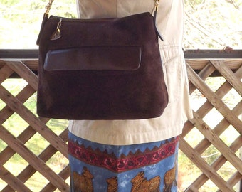 Leather Purse, Vintage Suede Leather Bag, Brown Leather Purse, Womens MM Designer Handbag
