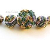 Art Bead Set - Crazy Quilt Beaded Bead focal - by Sharri Moroshok