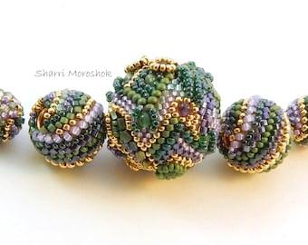 Sale - reduced 30%Art Bead Set - Crazy Quilt Beaded Bead focal - by Sharri Moroshok