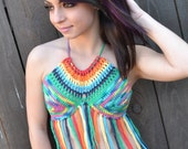 Reversible Rainbow Crochet Halter Top with Fringes - Festival Top - Hippie Top - Bikini Top - Summer Fashion